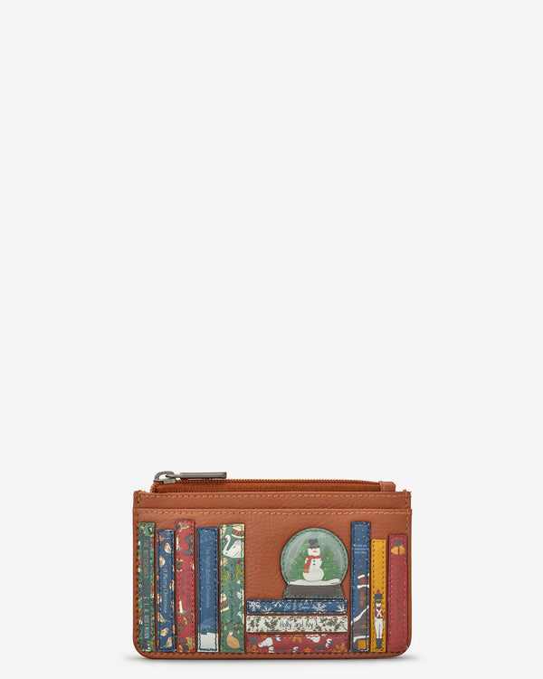 Christmas Bookworm Library Morton Tan Leather Card Holder