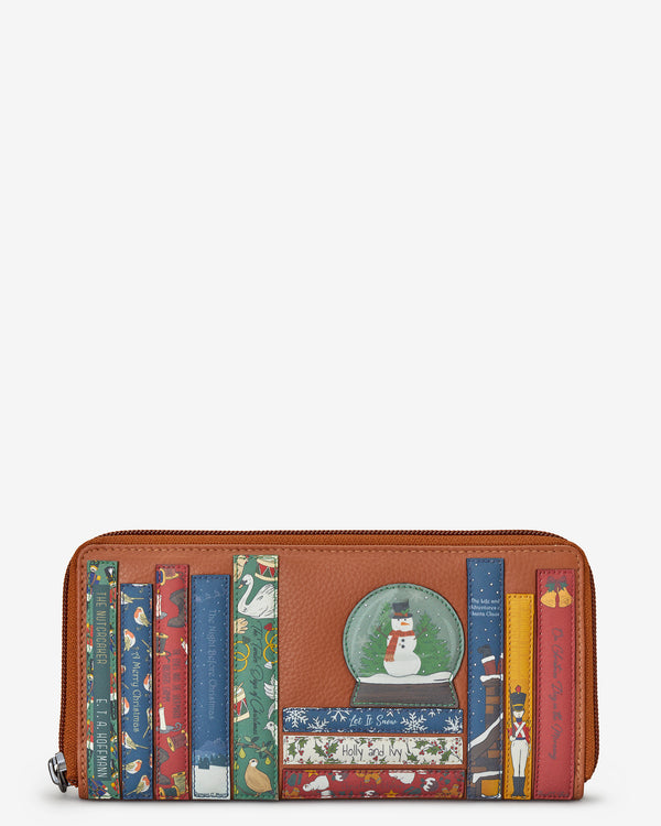Christmas Bookworm Zip Round Tan Leather Purse