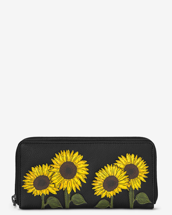 Sunflowers Zip Round Leather Purse