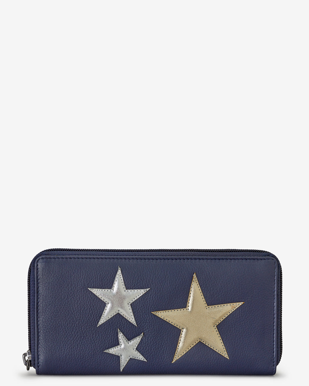 Stars Zip Round Navy Leather Purse