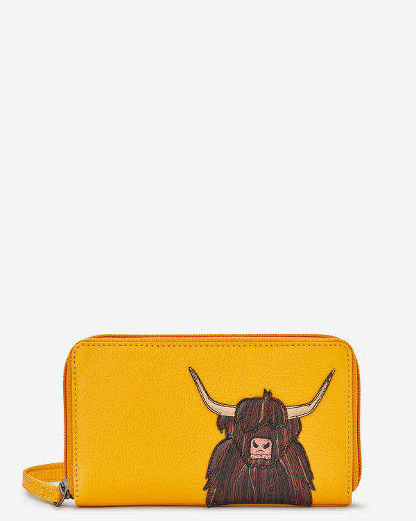 Highland Cow Zip Round Leather Purse With Strap