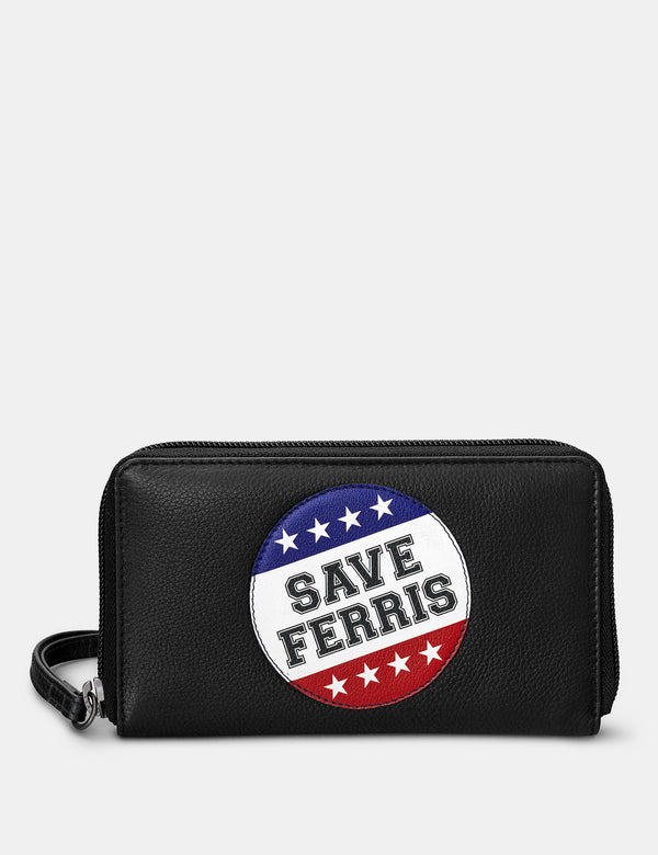 Save Ferris Black Zip Round Leather Purse With Strap