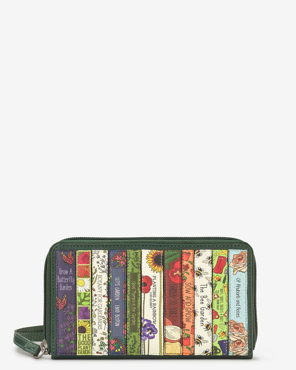Green Fingers Bookworm Zip Round Leather Purse With Strap