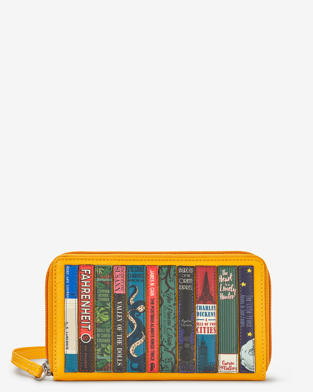 Bookworm Library Zip Round Leather Purse With Strap