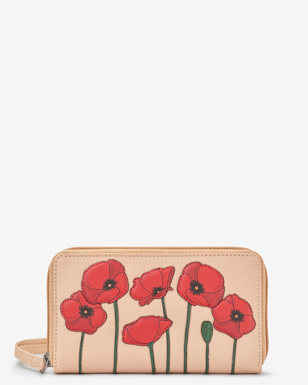 Poppy Flower Zip Round Leather Purse With Strap