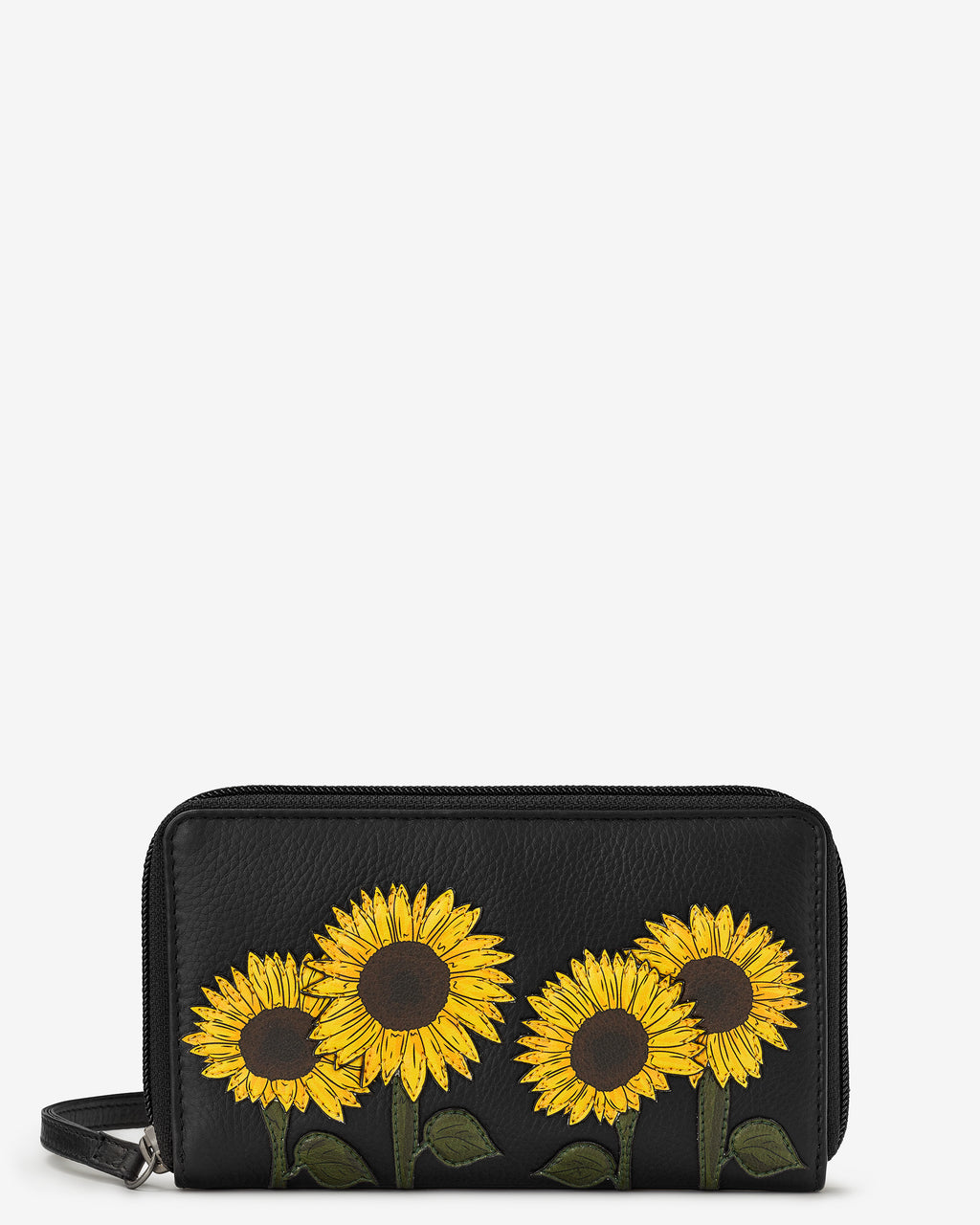 Sunflowers Zip Round Leather Purse With Strap