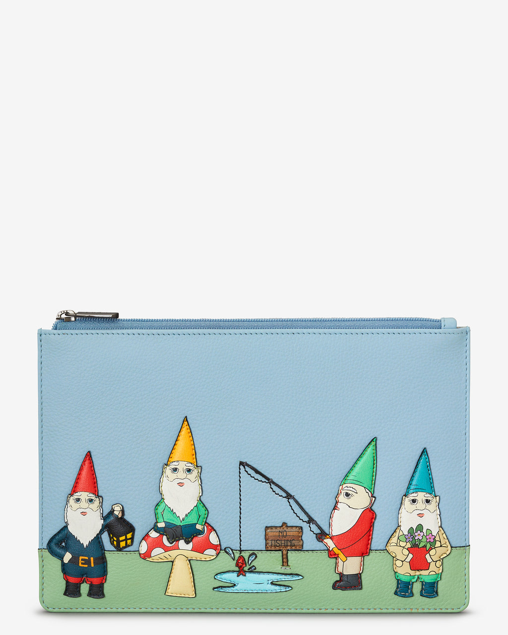 Gnome Sweet Gnome Zip Top Leather Pouch