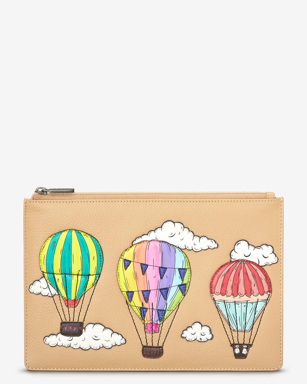 Amongst The Clouds Zip Top Leather Pouch