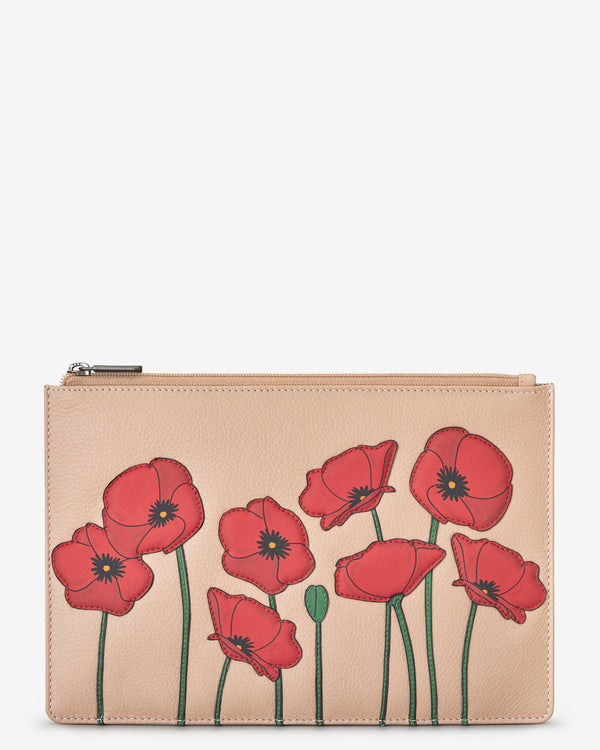 Poppy Zip Top Leather Pouch