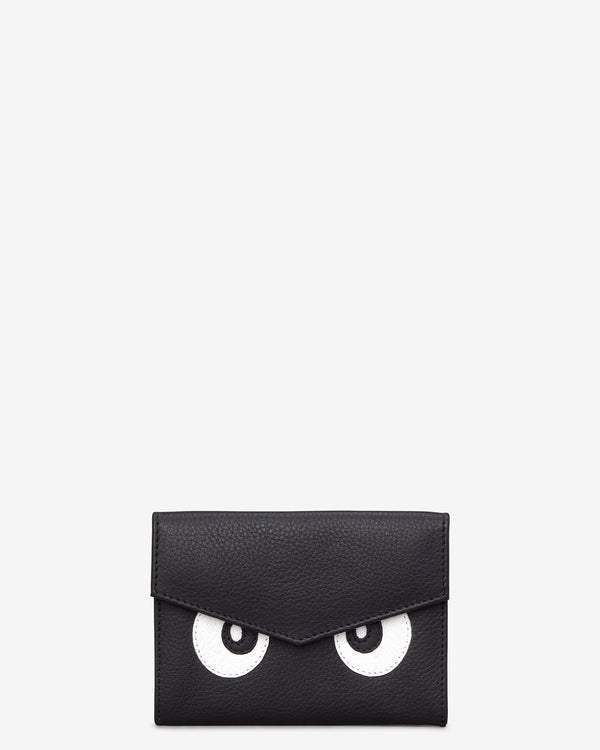 Surpr-Eyes Black Leather Flap Over Purse