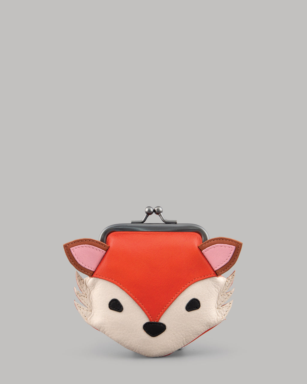 Rusty the Fox Leather Clip Top Purse