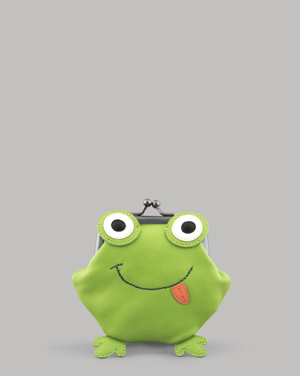 Lily the Frog Leather Clip Top Purse