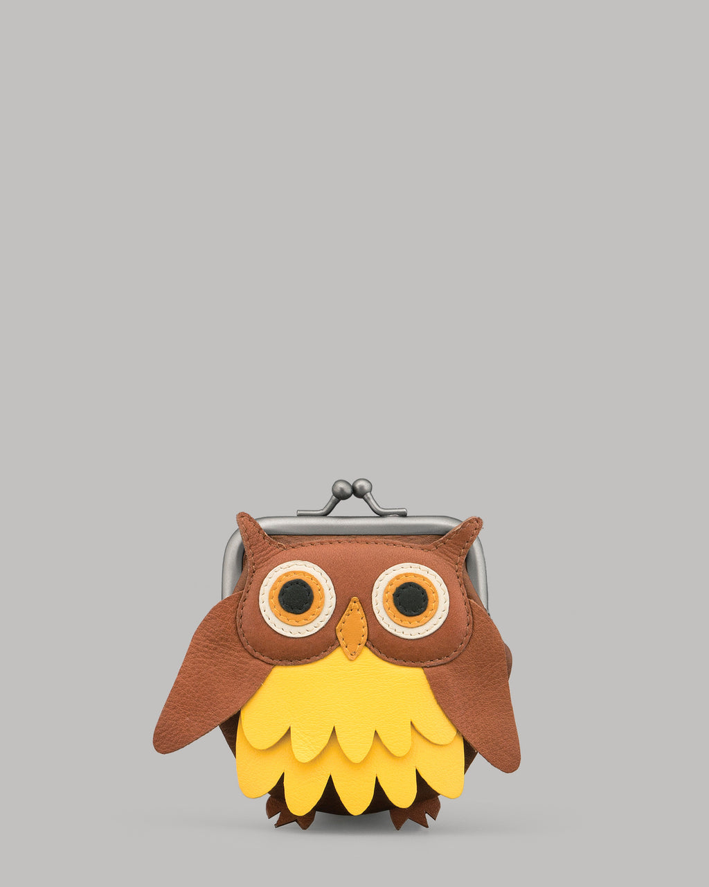 Barny The Owl Leather Clip Top Purse