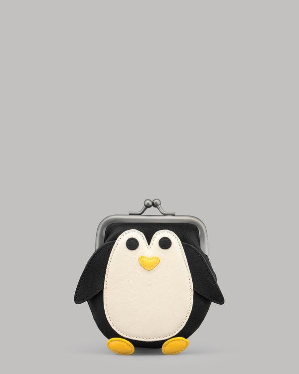 Mumble The Penguin Leather Clip Top Purse