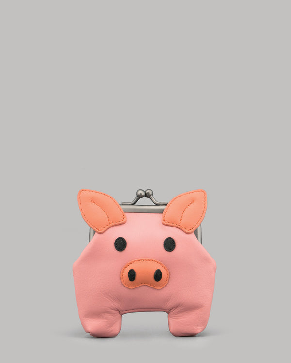 Oink The Pig Leather Clip Top Purse
