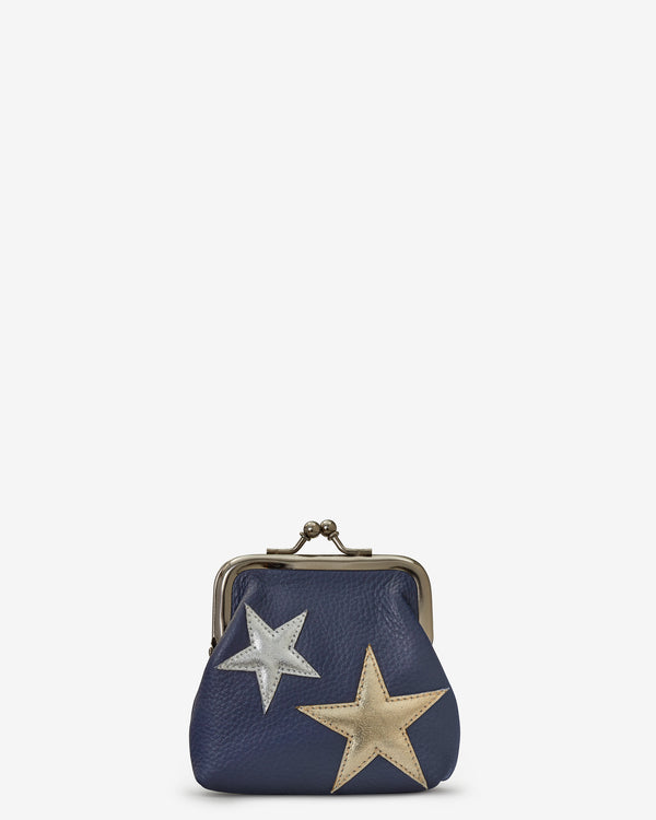 Stars Navy Leather Clip Top Purse