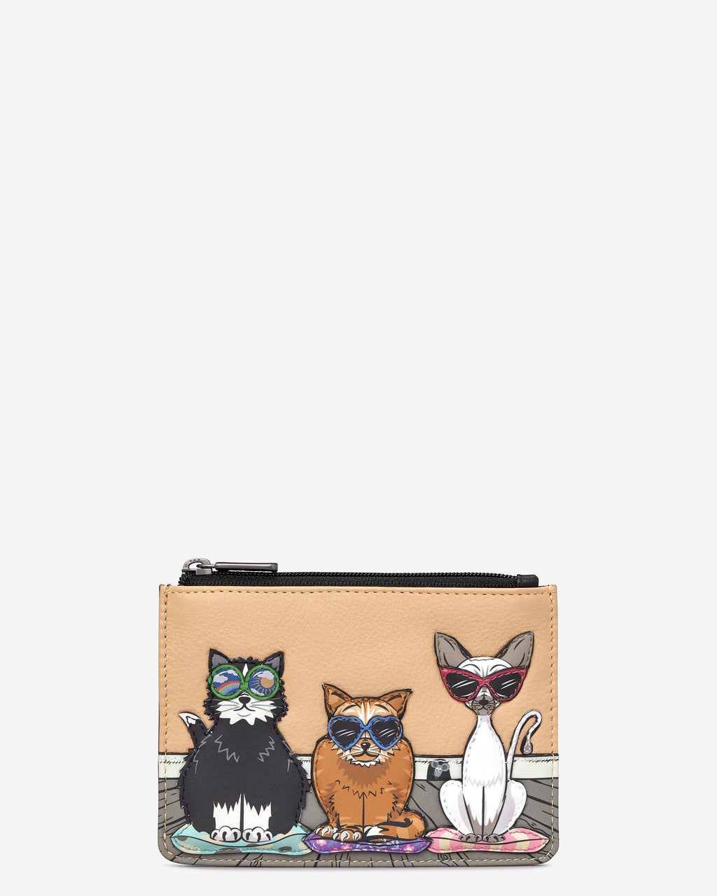 Cool for Cats Zip Top Leather Purse