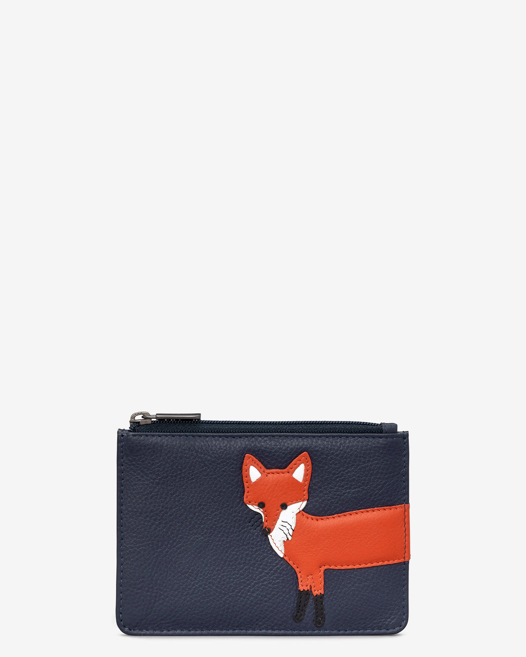 Fergus The Fox Zip Top Leather Purse