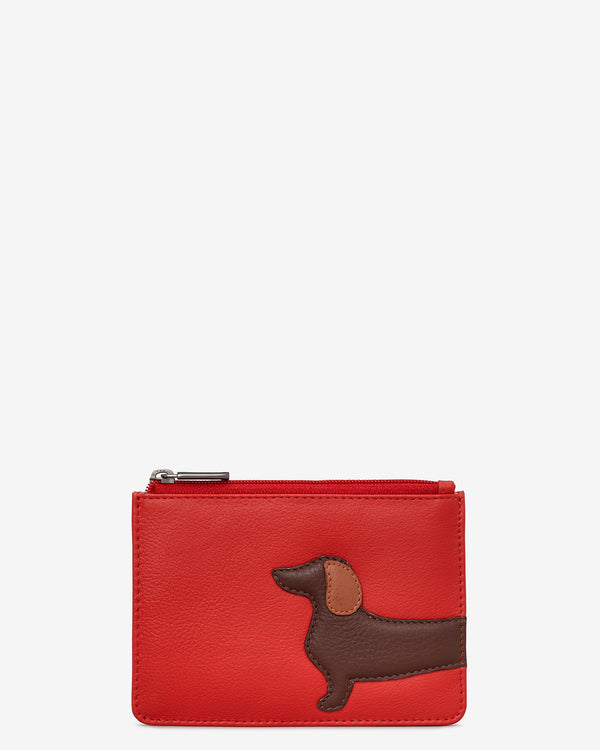 Dottie the Dachshund Red Leather Zip Top Purse