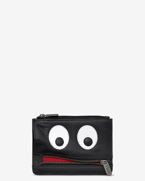 Hungry Eyes Black Leather Zip Top Purse