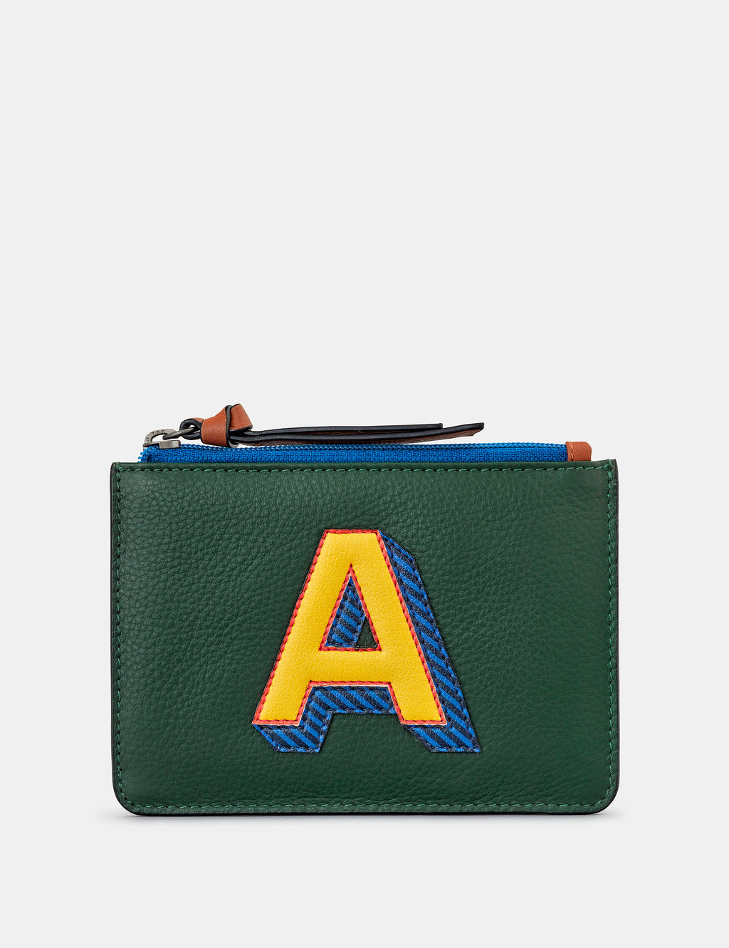 A Initials Green Leather Zip Top Purse