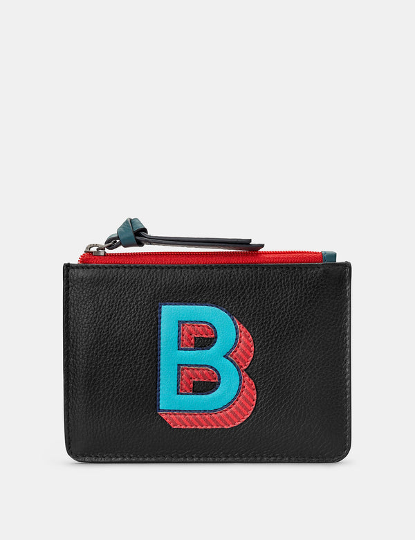 B Initials Black Leather Zip Top Purse