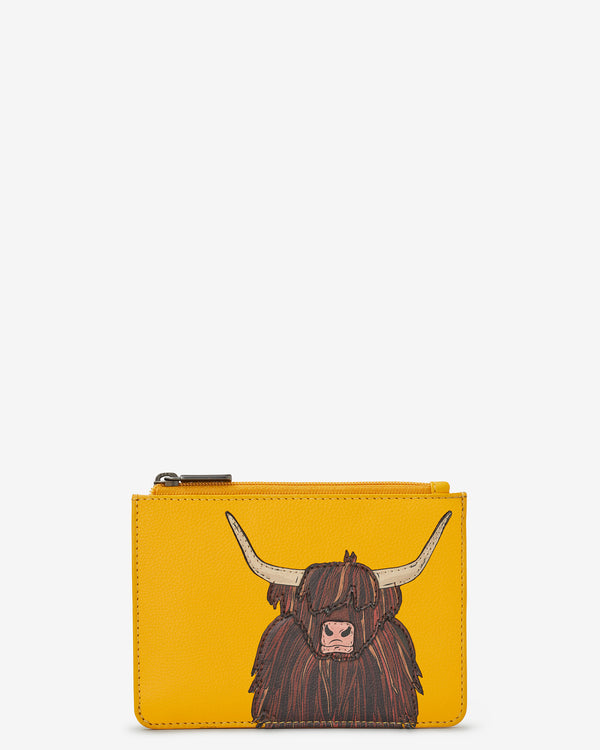 Highland Cow Zip Top Leather Purse