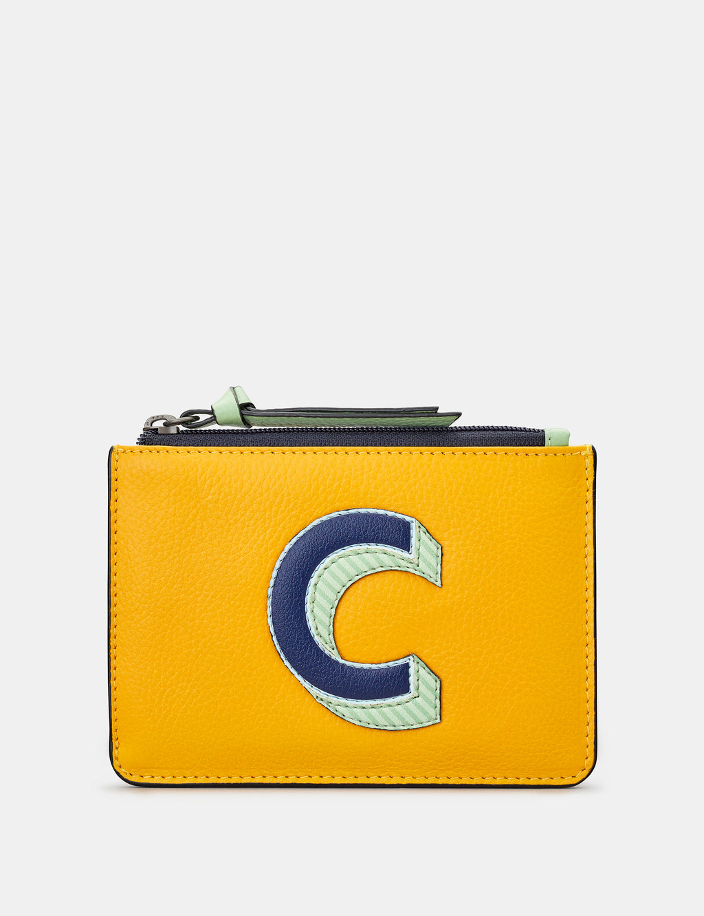 C Initials Mustard Yellow Leather Zip Top Purse