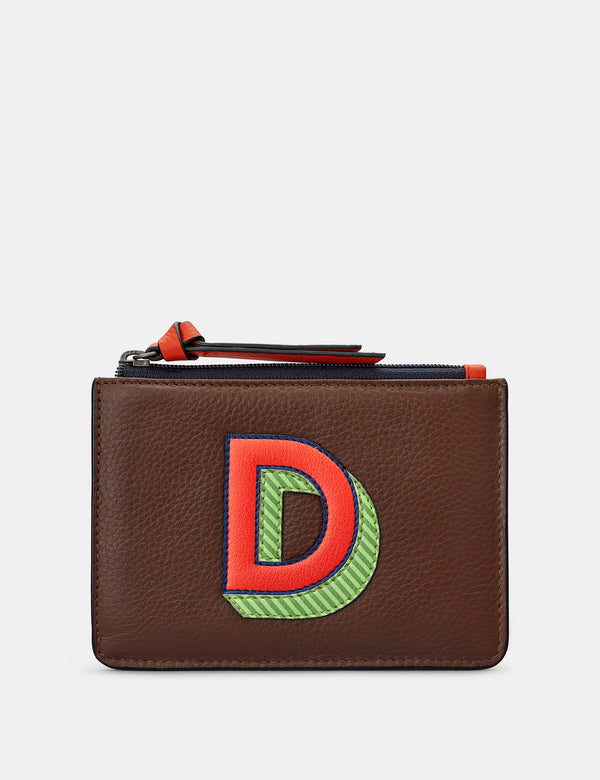 D Initials Brown Leather Zip Top Purse