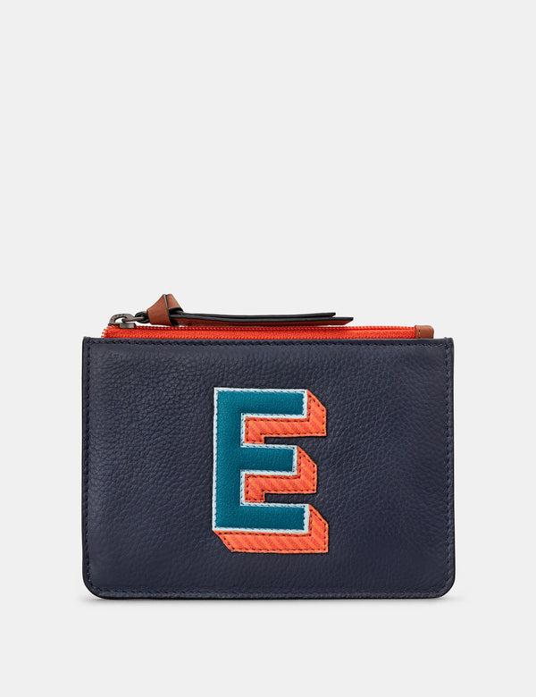 E Initials Navy Leather Zip Top Purse