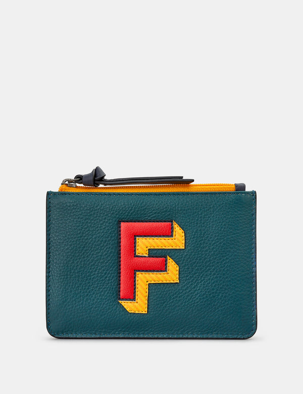 F Initials Teal Leather Zip Top Purse