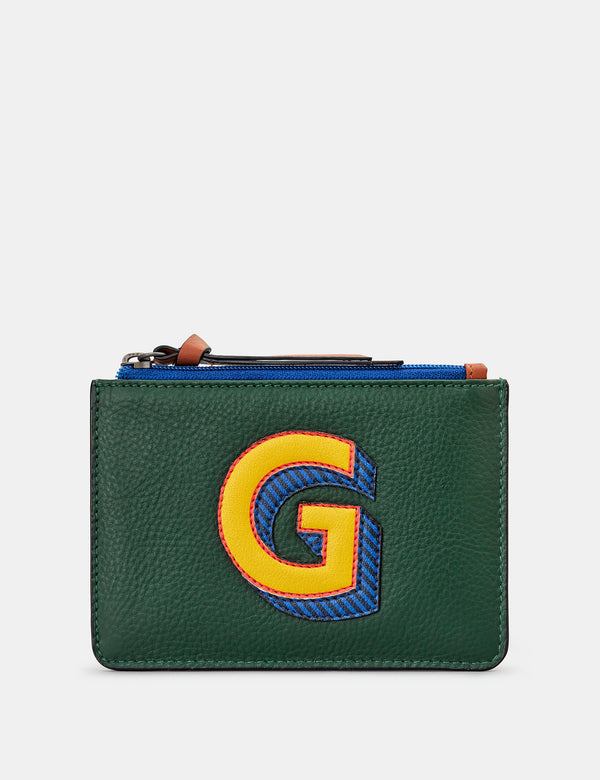 G Initials Green Leather Zip Top Purse