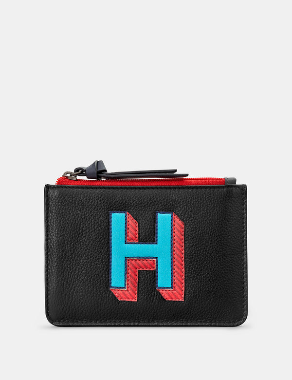 H Initials Black Leather Zip Top Purse