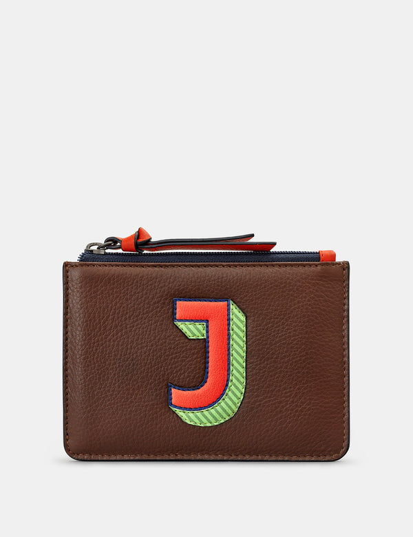 J Initials Brown Leather Zip Top Purse