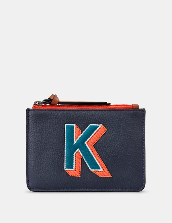 K Initials Navy Leather Zip Top Purse