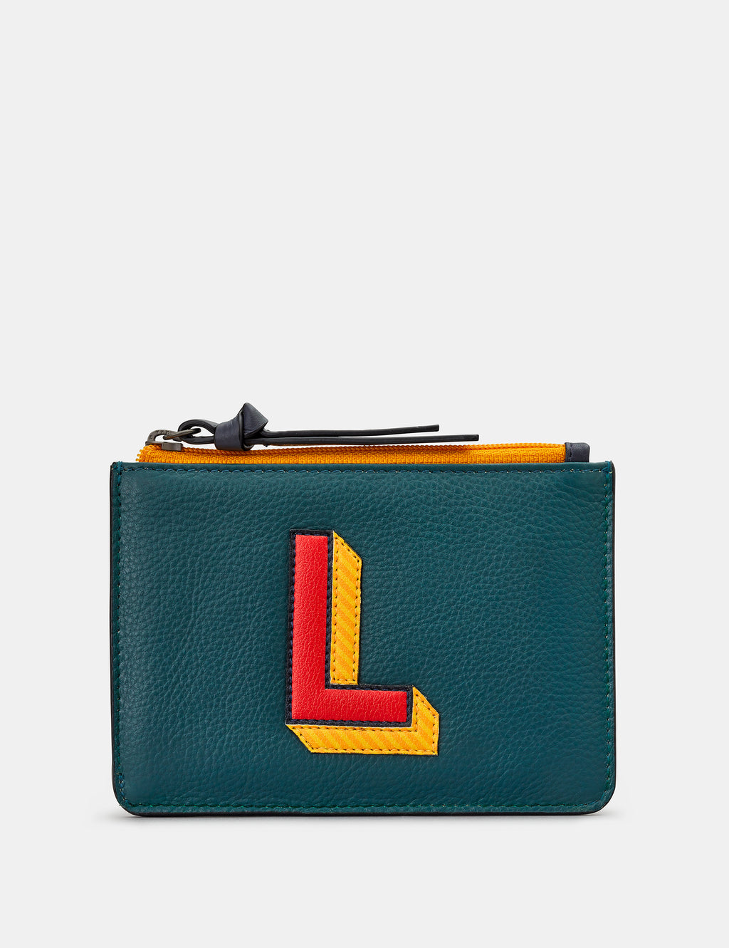 L Initials Teal Leather Zip Top Purse