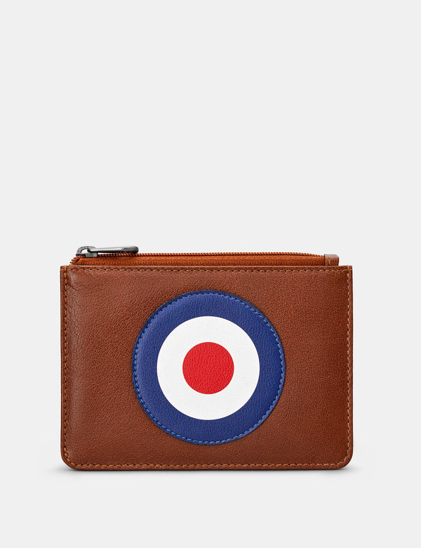 Mod Brown Leather Zip Top Purse