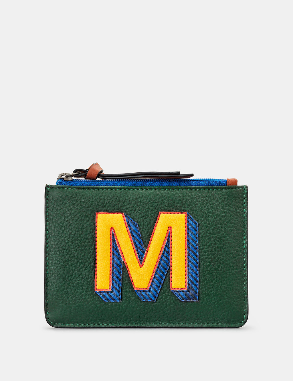 M Initials Green Leather Zip Top Purse