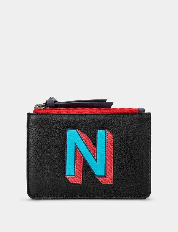 N Initials Black Leather Zip Top Purse