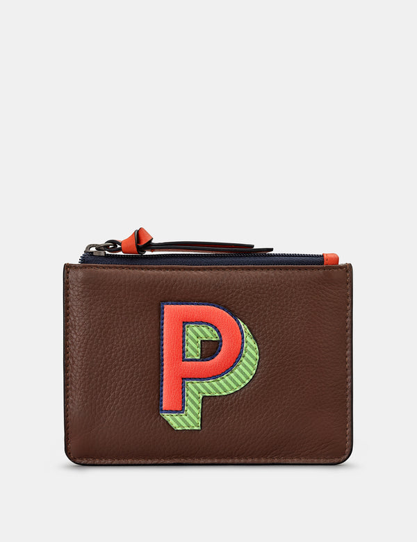 P Initials Brown Leather Zip Top Purse