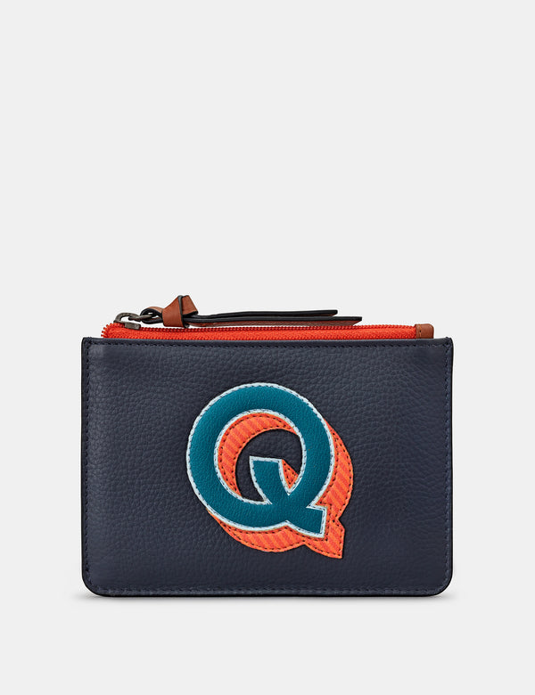 Q Initials Navy Leather Zip Top Purse
