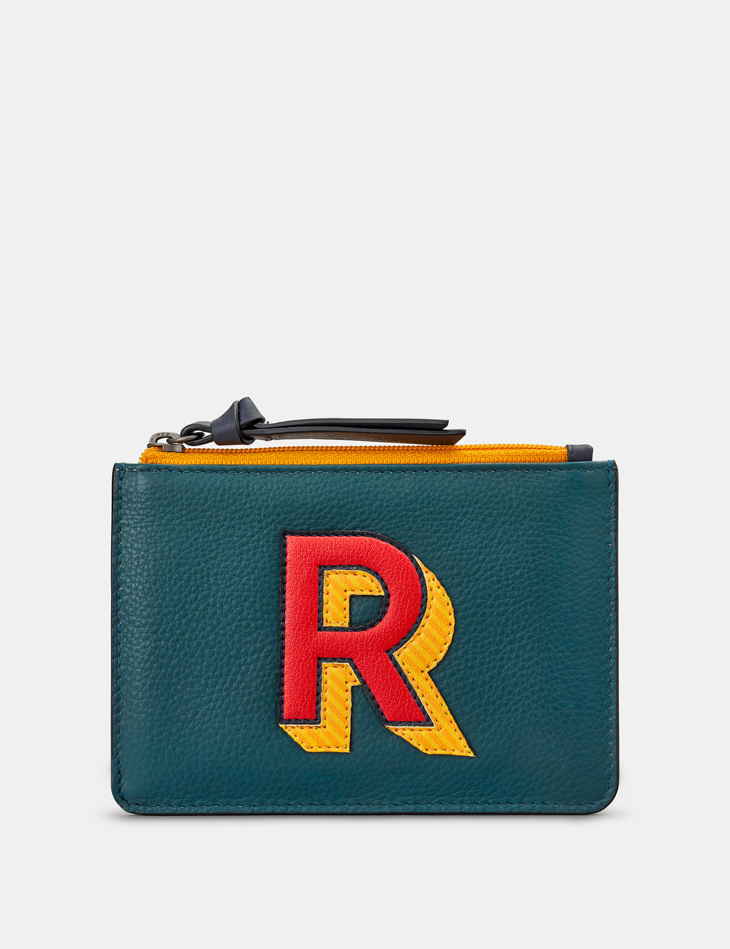 R Initials Teal Leather Zip Top Purse