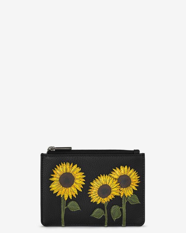 Sunflowers Leather Zip Top Purse