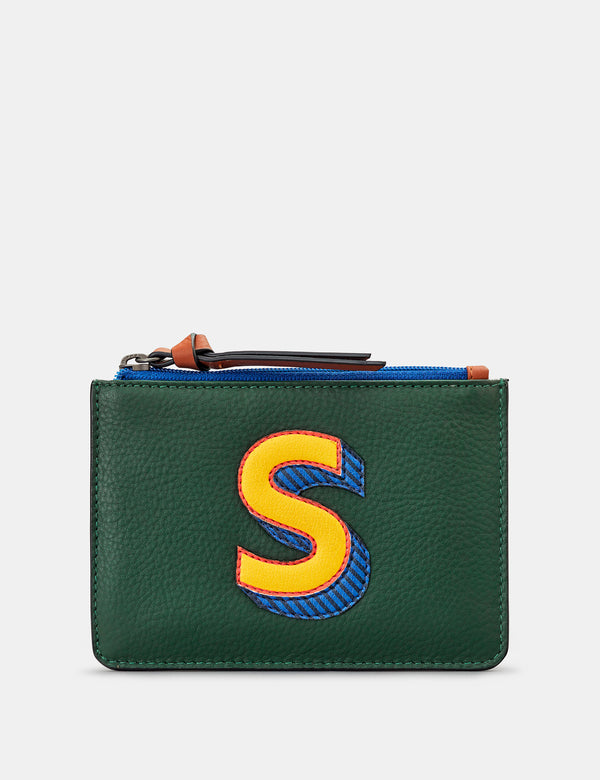 S Initials Green Leather Zip Top Purse