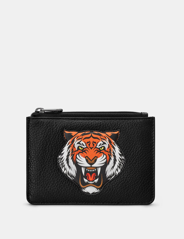 Tiger Black Leather Zip Top Purse