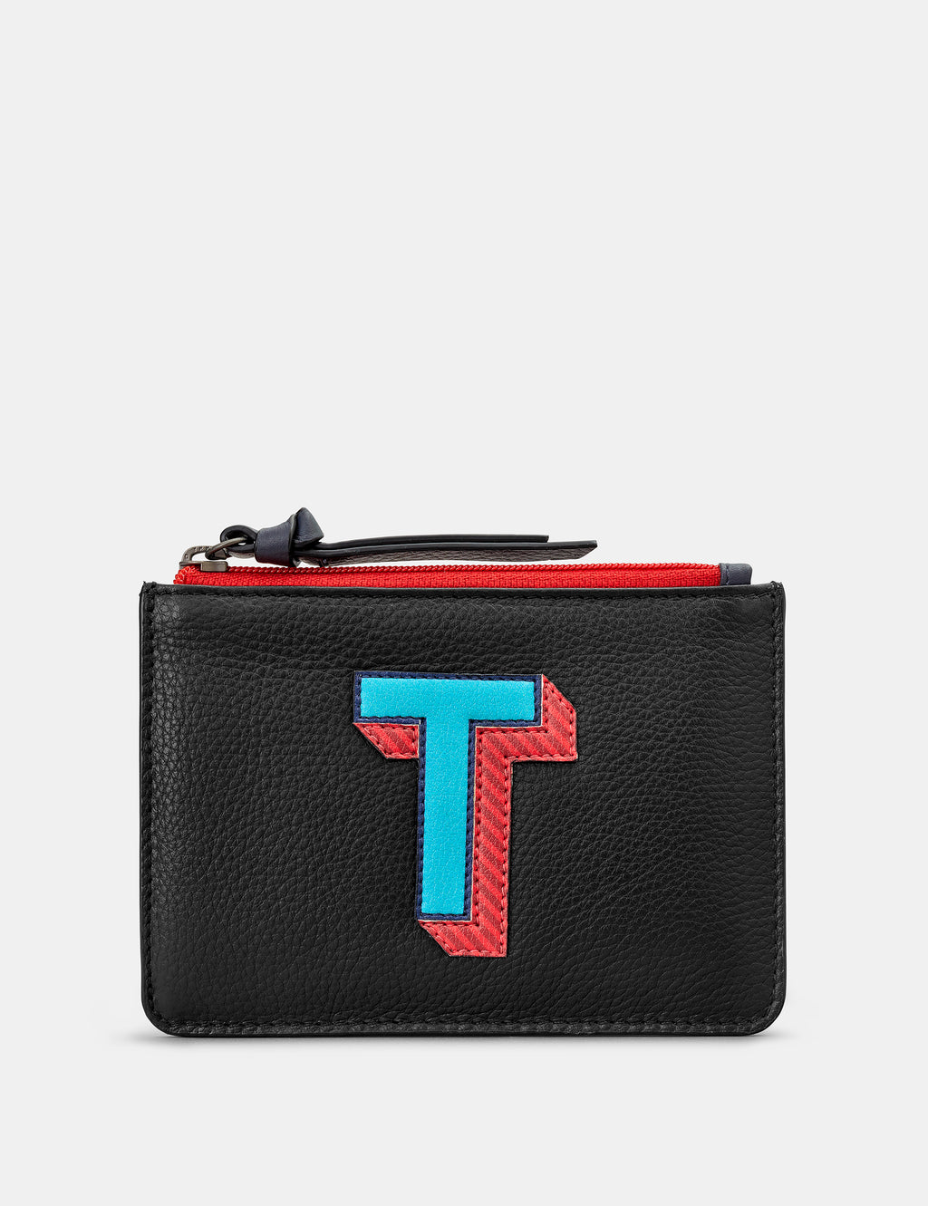 T Initials Black Leather Zip Top Purse