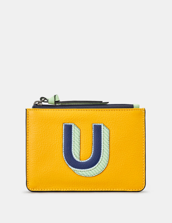 U Initials Mustard Yellow Leather Zip Top Purse