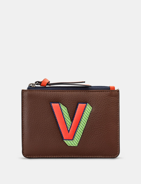 V Initials Brown Leather Zip Top Purse