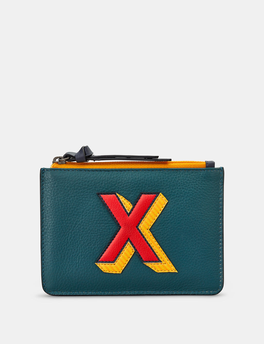 X Initials Teal Leather Zip Top Purse