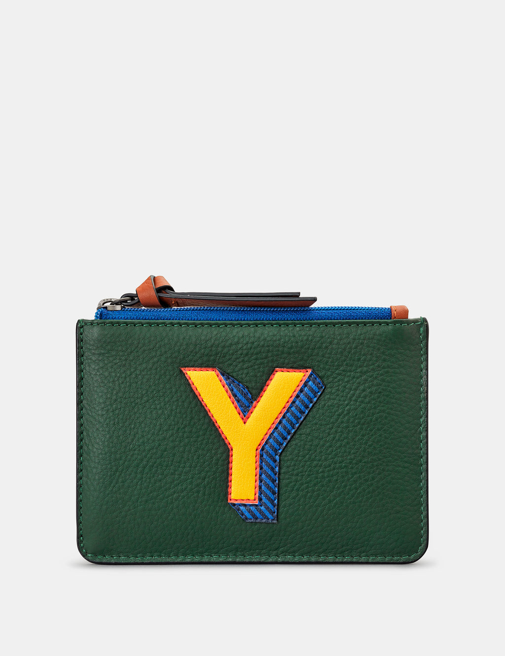 Y Initials Green Leather Zip Top Purse